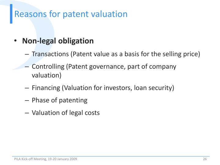 Reasons for patent valuation
