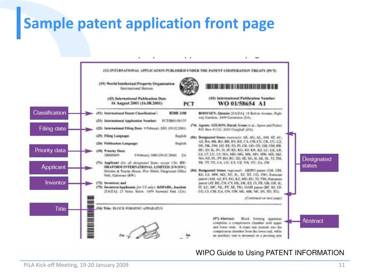Sample patent application front page