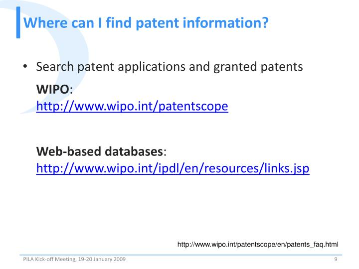 Where can I find patent information?