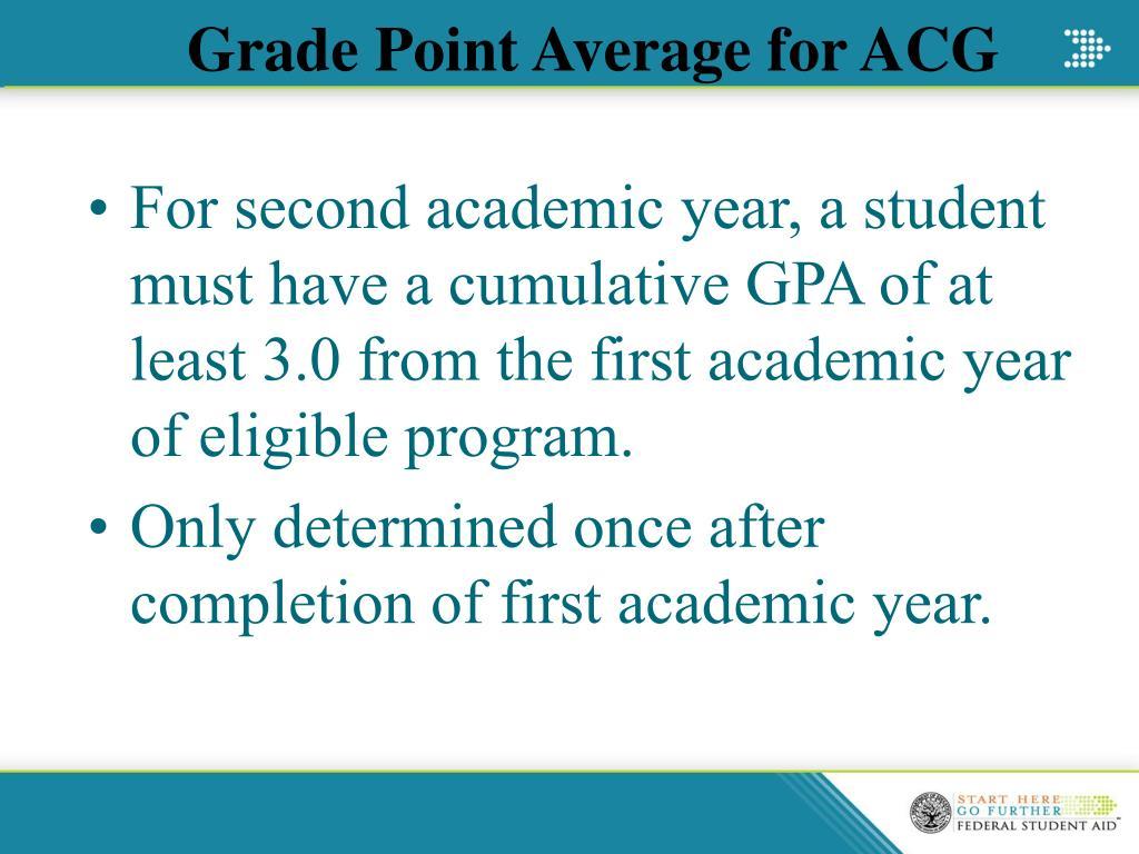 Grade Point Average for ACG