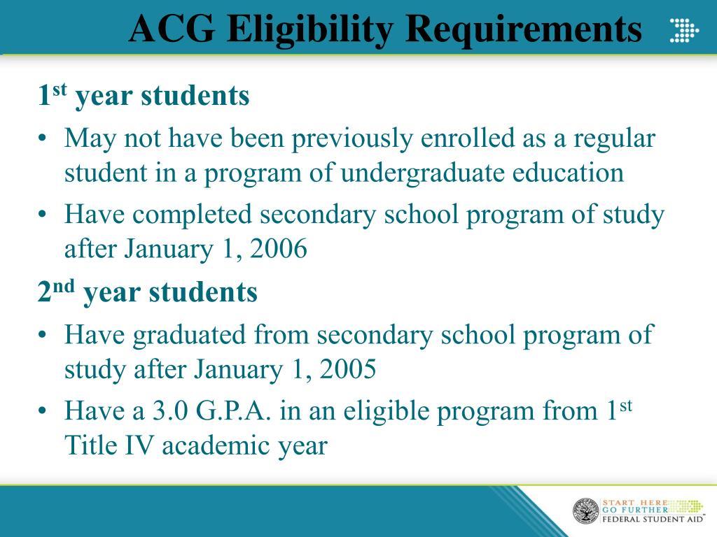 ACG Eligibility Requirements