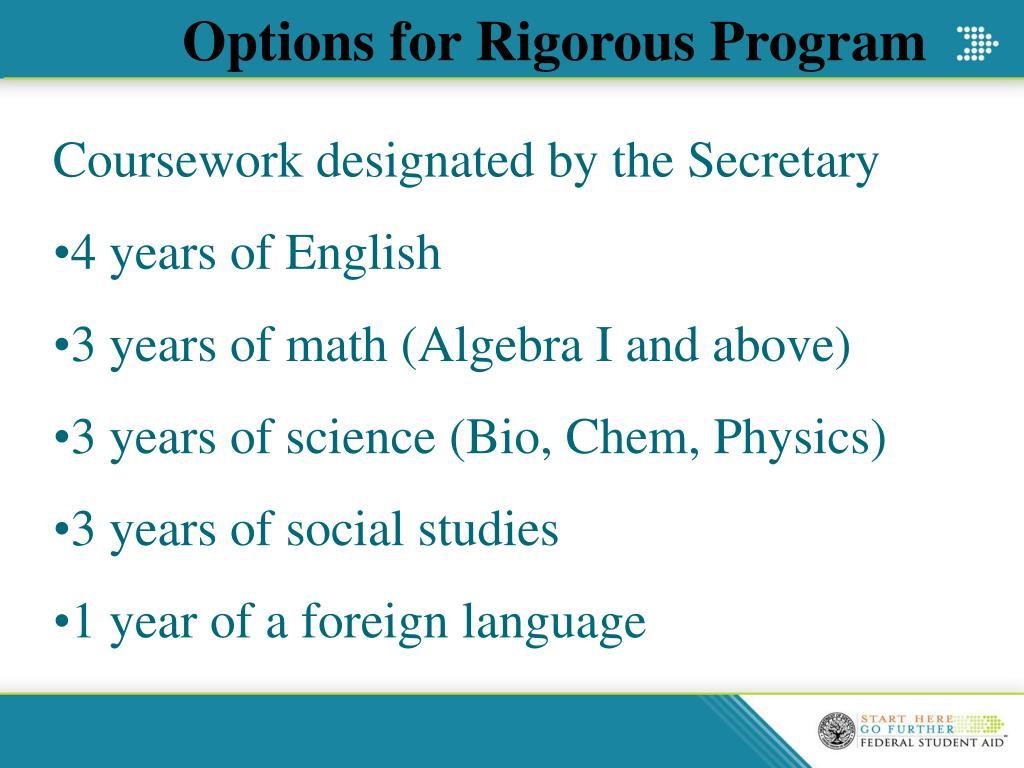 Options for Rigorous Program