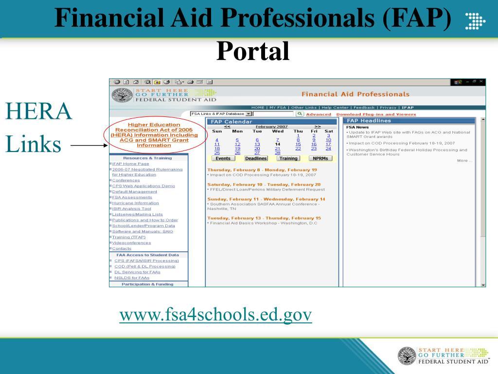 Financial Aid Professionals (FAP) Portal