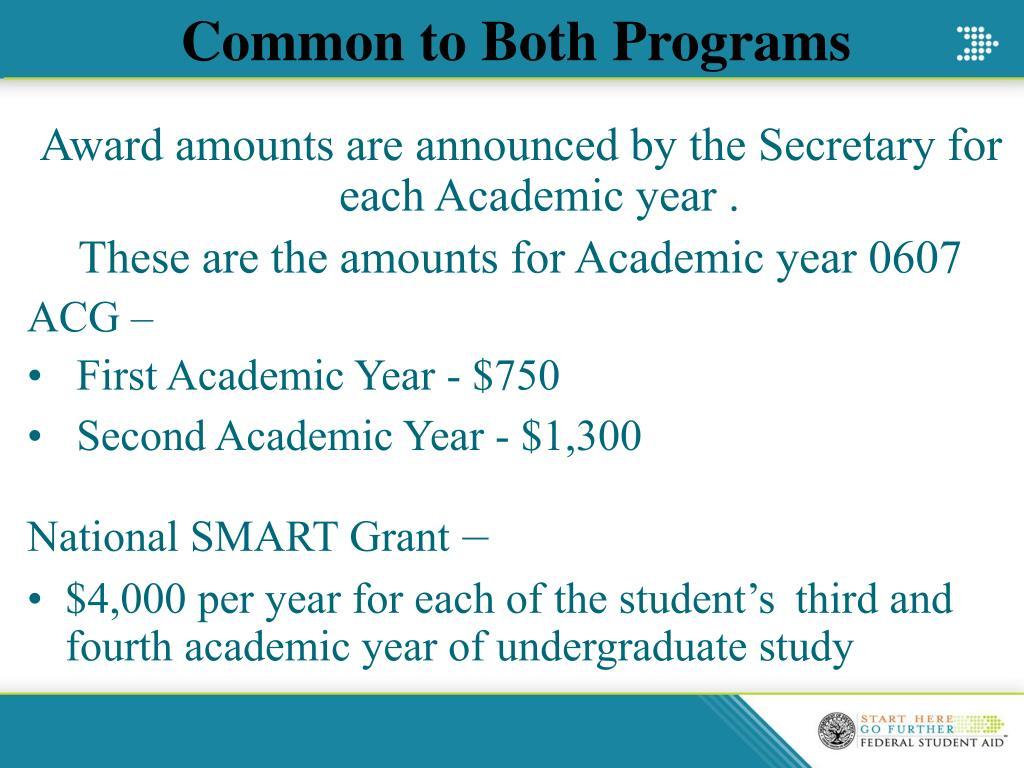 Common to Both Programs