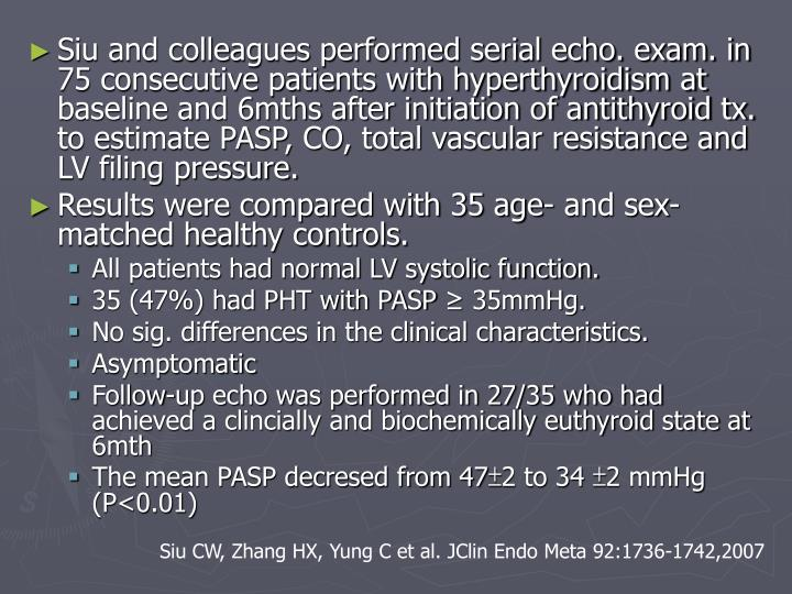 Siu and colleagues performed serial echo. exam. in 75 consecutive patients with hyperthyroidism at baseline and 6mths after initiation of antithyroid tx. to estimate PASP, CO, total vascular resistance and LV filing pressure.