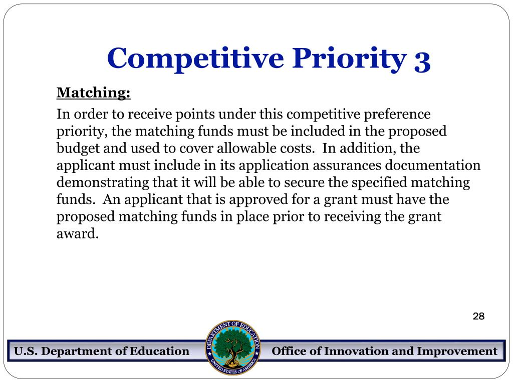 Competitive Priority 3