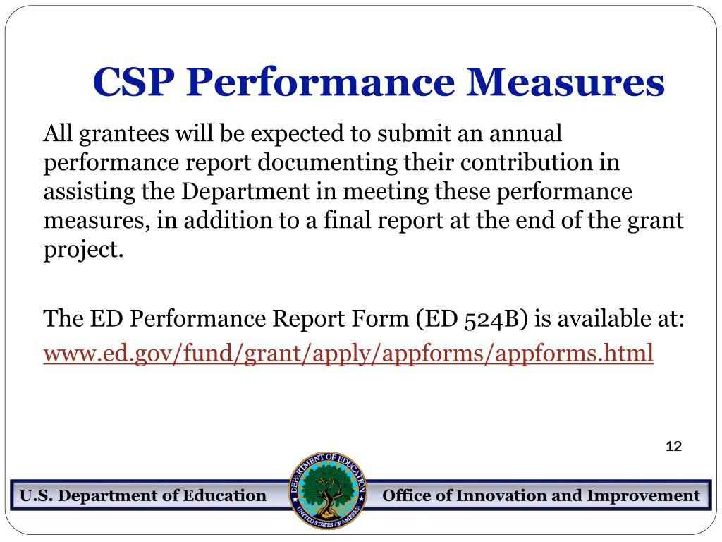 CSP Performance Measures