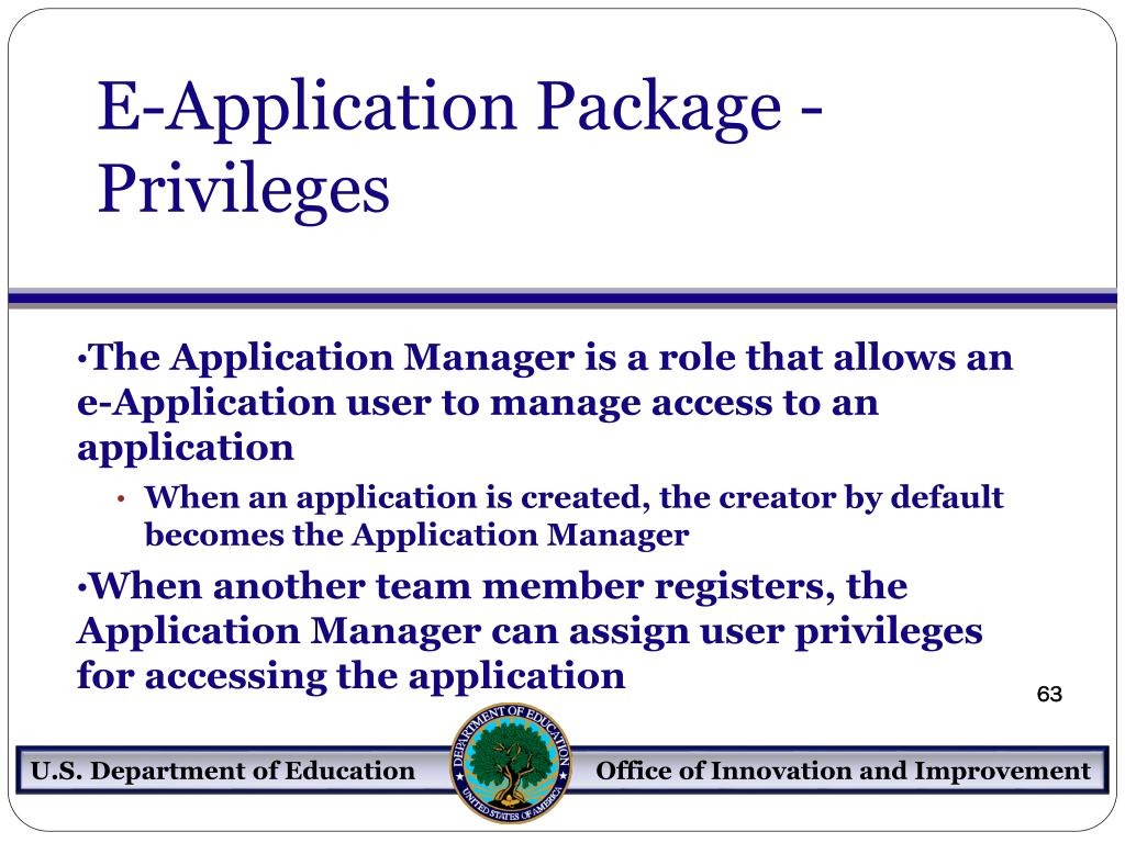 E-Application Package - Privileges