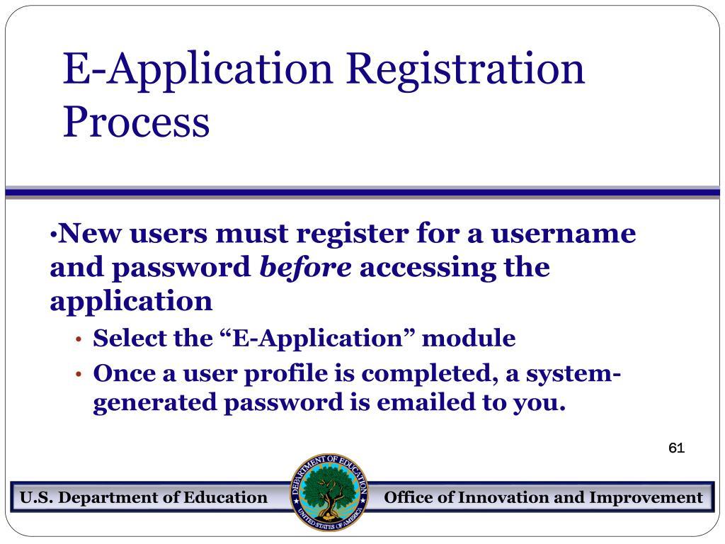 E-Application Registration Process
