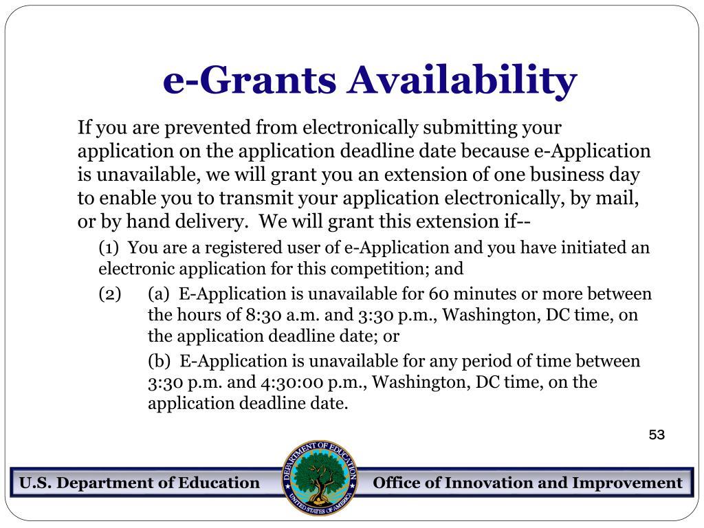 e-Grants Availability