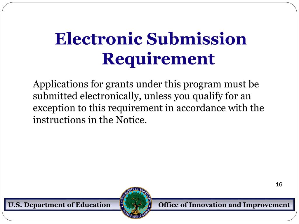Electronic Submission Requirement
