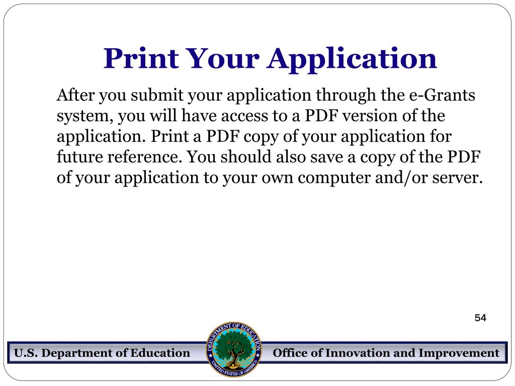 Print Your Application