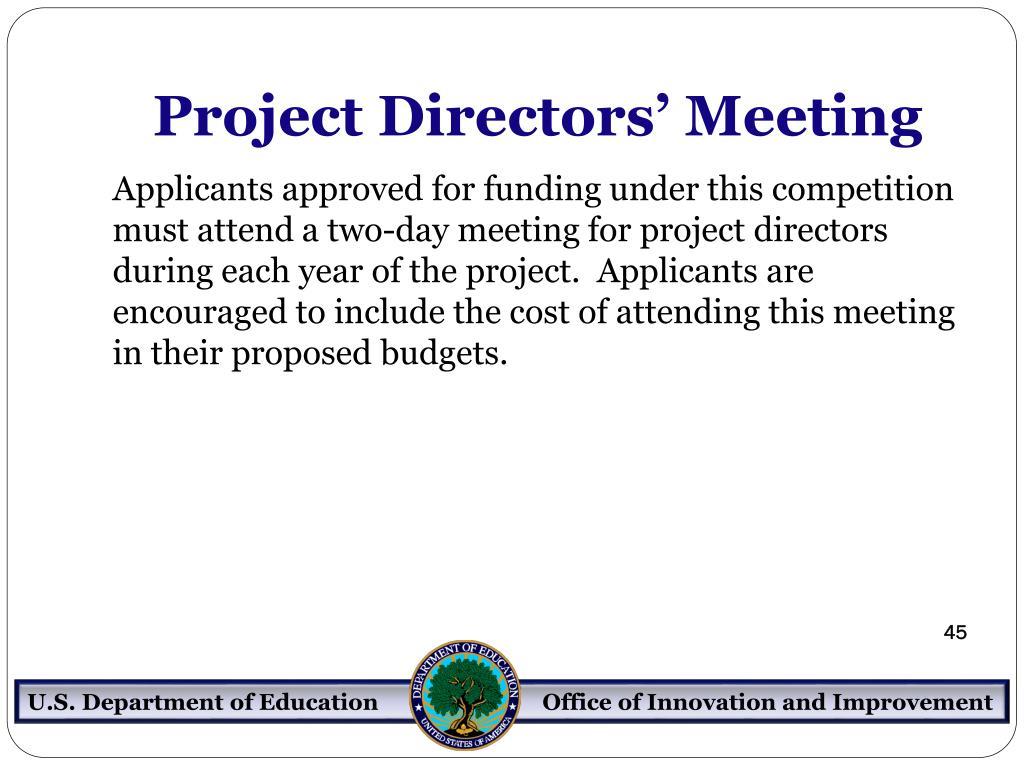 Project Directors' Meeting