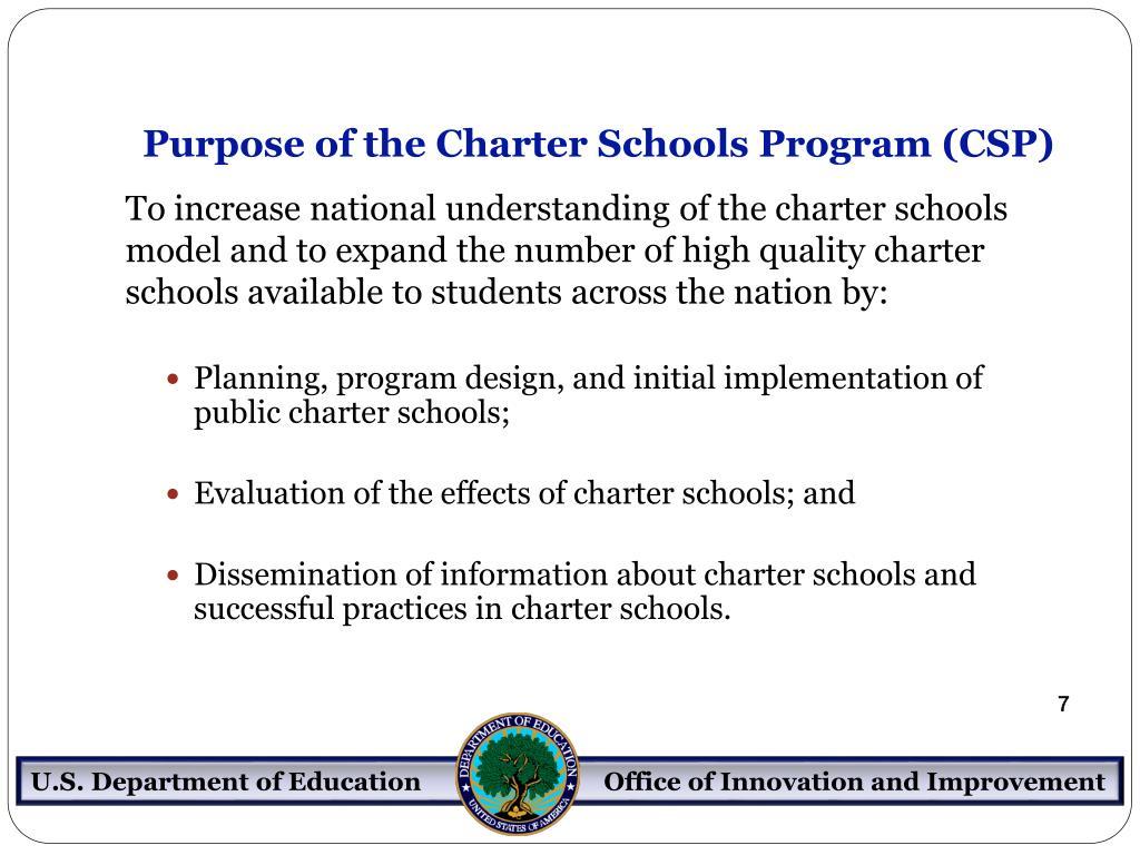 Purpose of the Charter Schools Program (CSP)