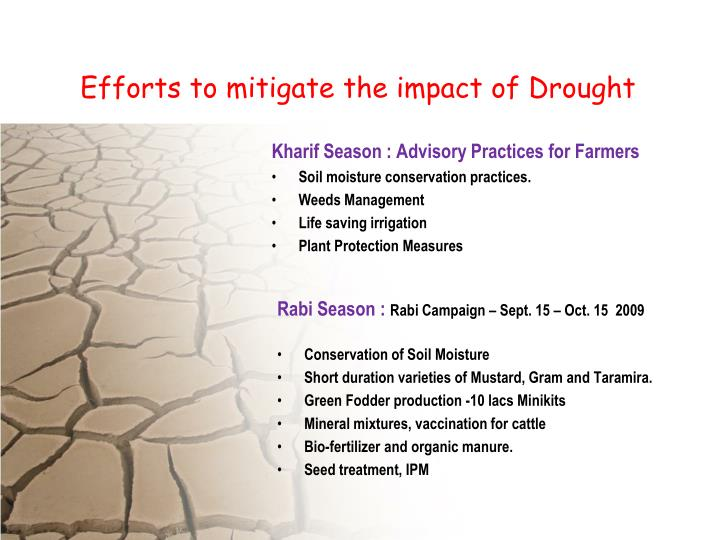 Efforts to mitigate the impact of Drought