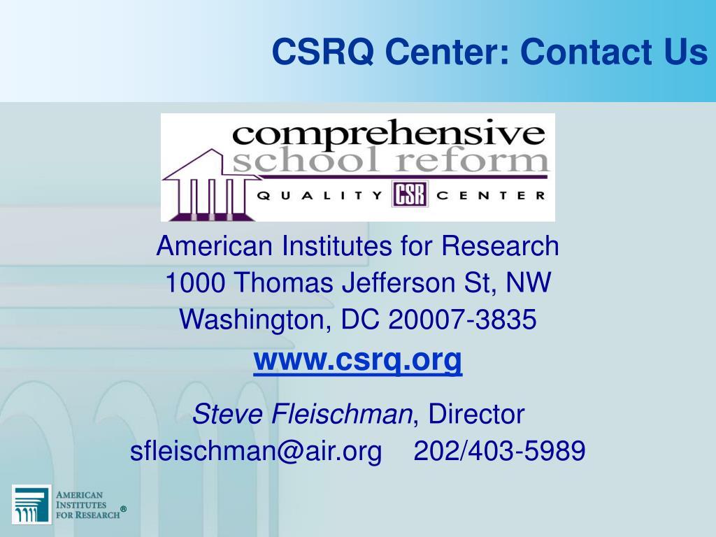 CSRQ Center: Contact Us