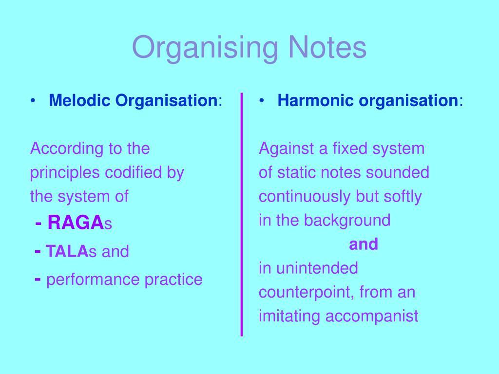 Melodic Organisation