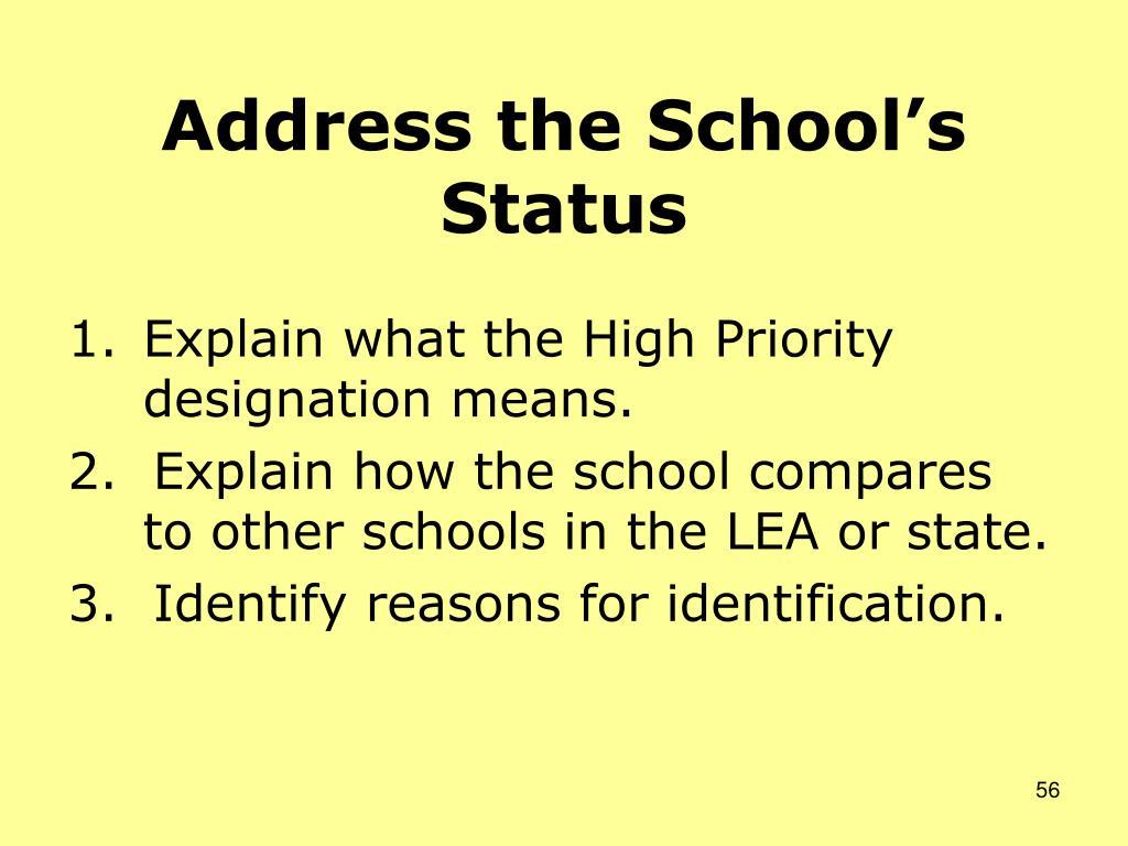 Address the School's Status