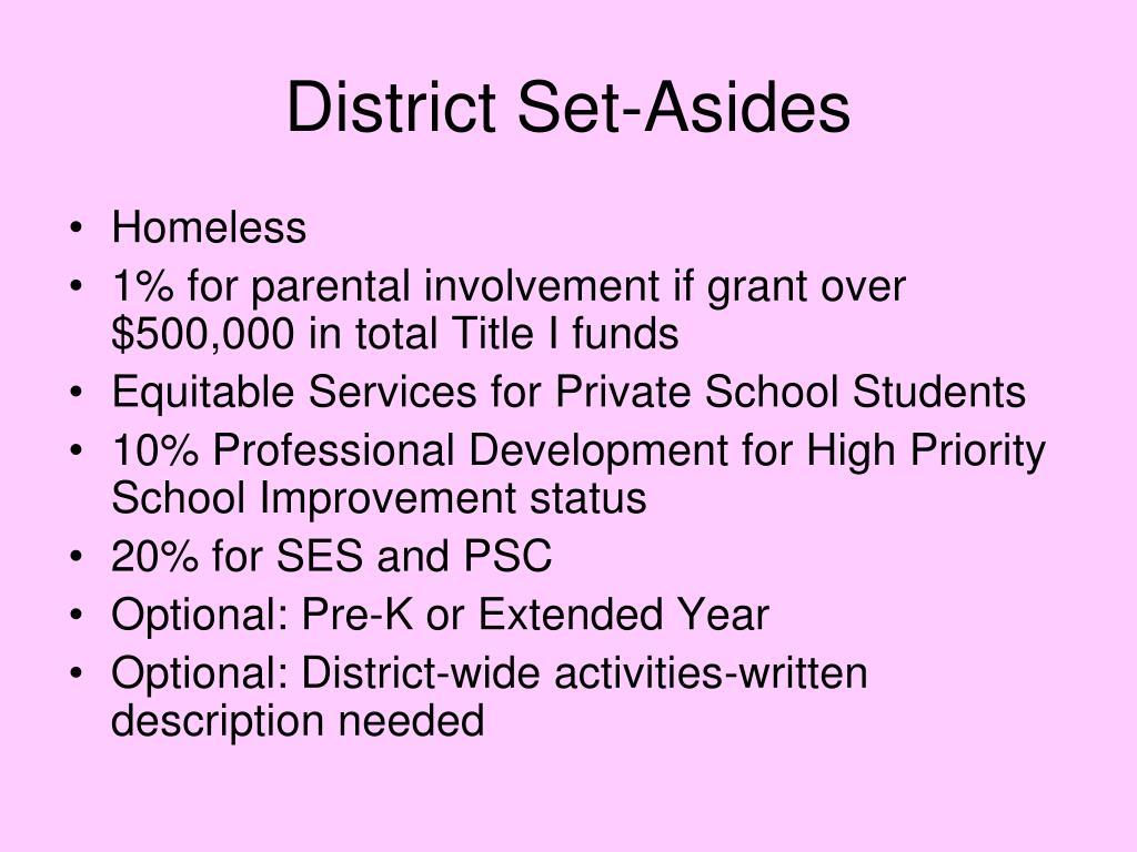 District Set-Asides