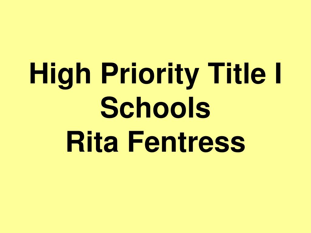 High Priority Title I Schools
