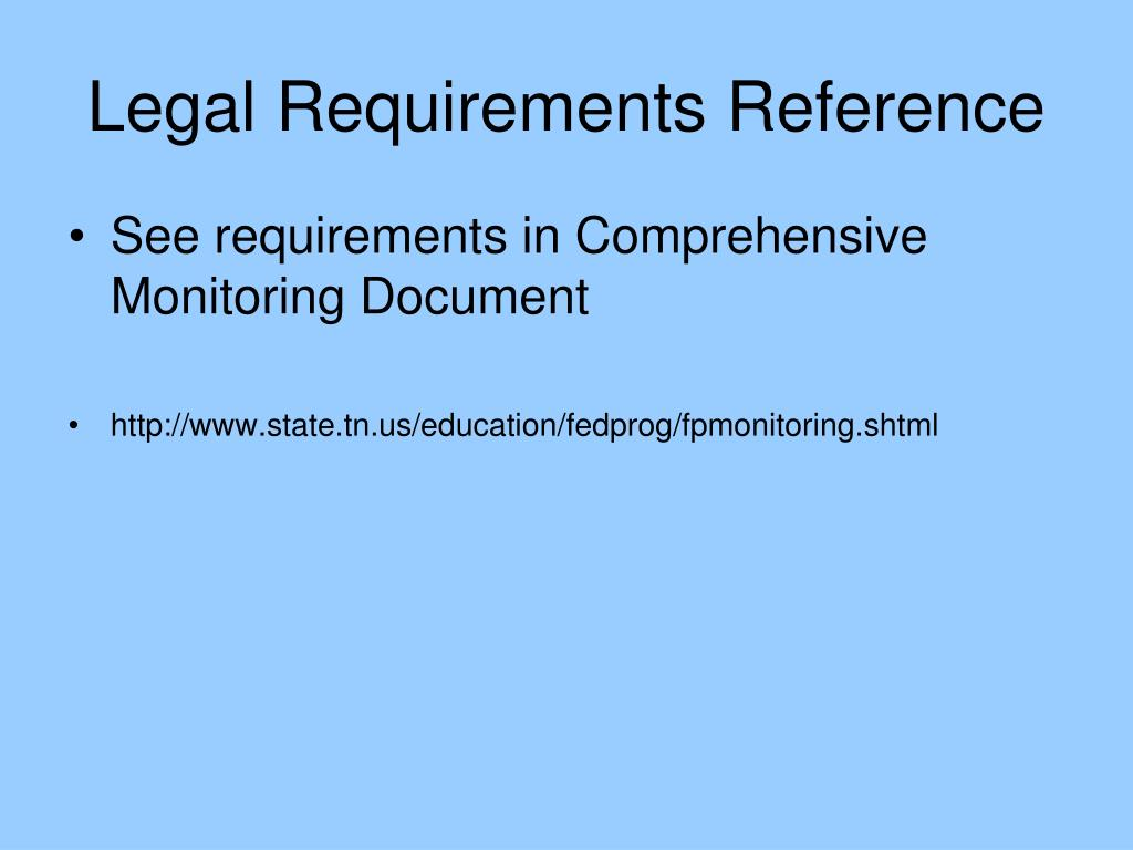 Legal Requirements Reference