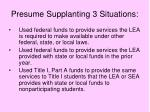 presume supplanting 3 situations