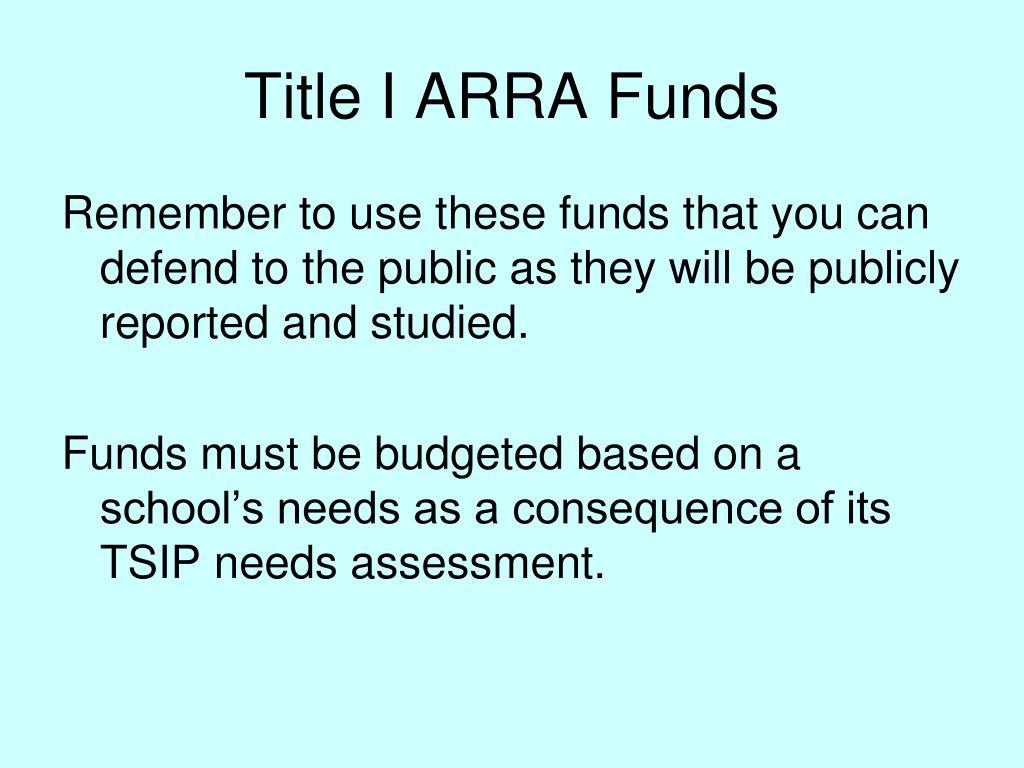 Title I ARRA Funds