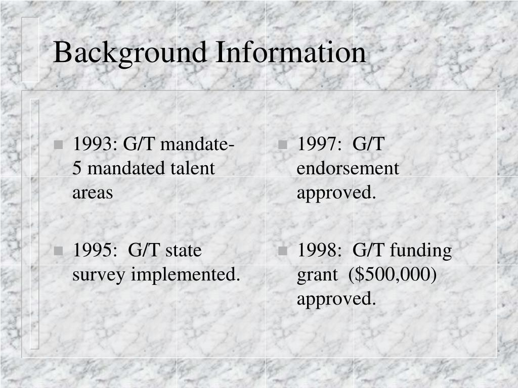1993: G/T mandate-   5 mandated talent areas