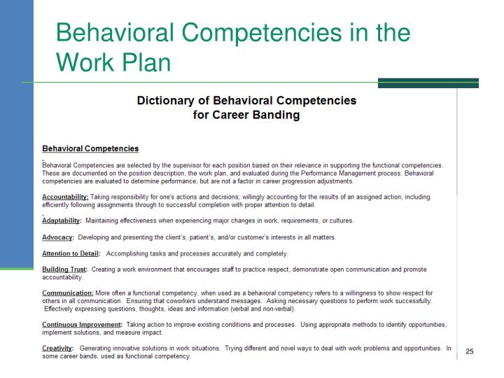 Behavioral Competencies in the Work Plan