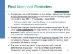 final notes and reminders