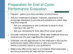 preparation for end of cycle performance evaluation