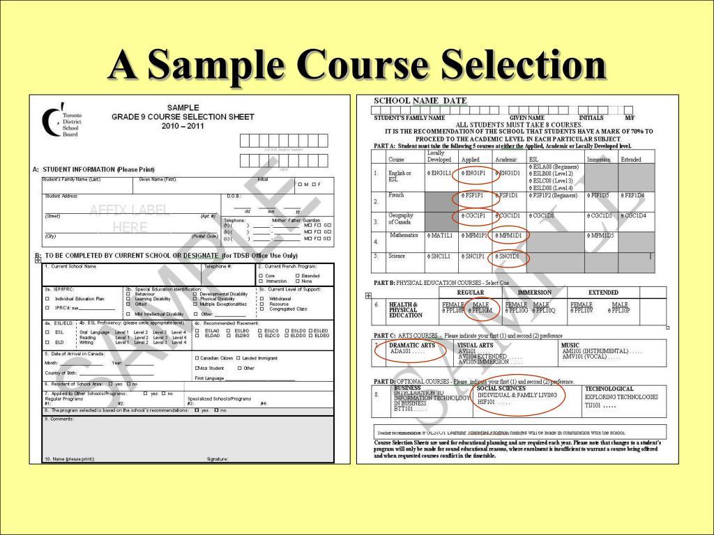 A Sample Course Selection