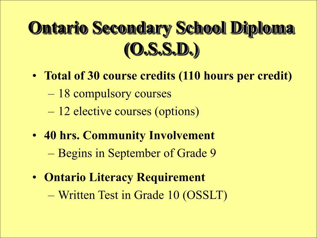 Ontario Secondary School Diploma  (O.S.S.D.)