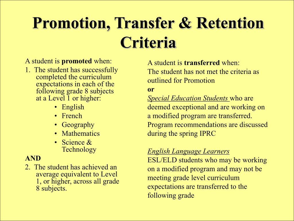 Promotion, Transfer & Retention Criteria