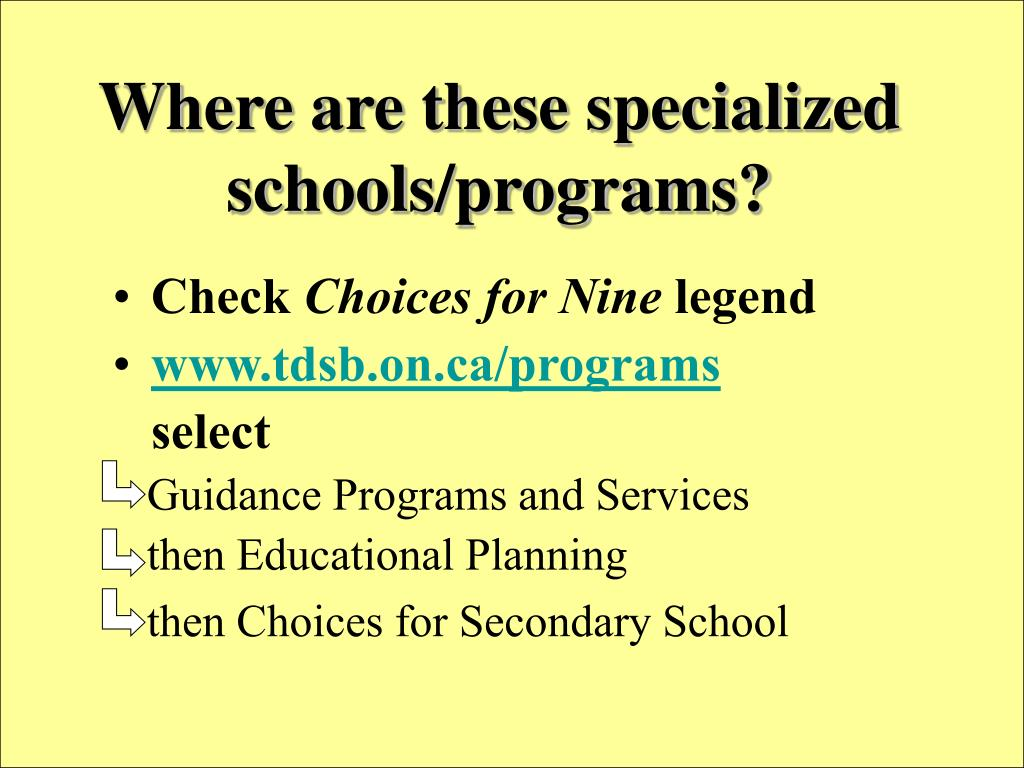 Where are these specialized schools/programs?