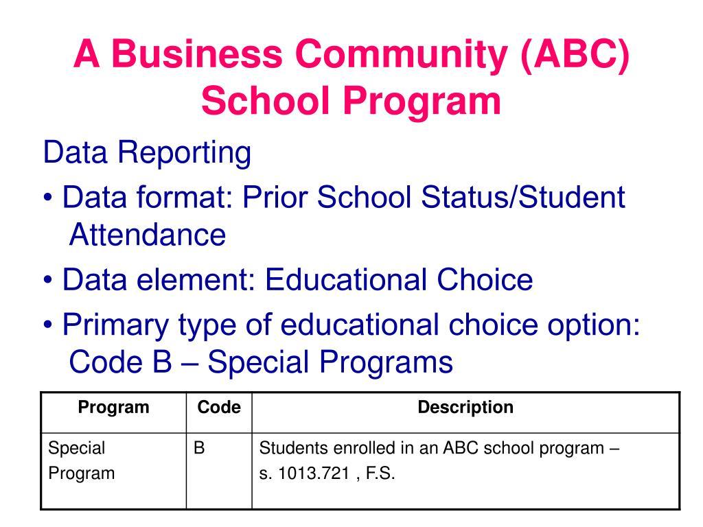 A Business Community (ABC) School Program