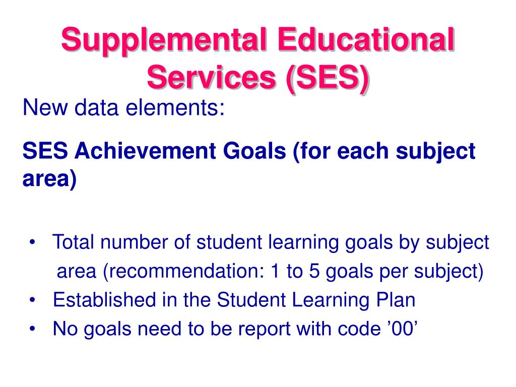 Supplemental Educational Services (SES)
