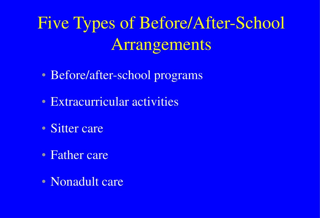 Five Types of Before/After-School Arrangements