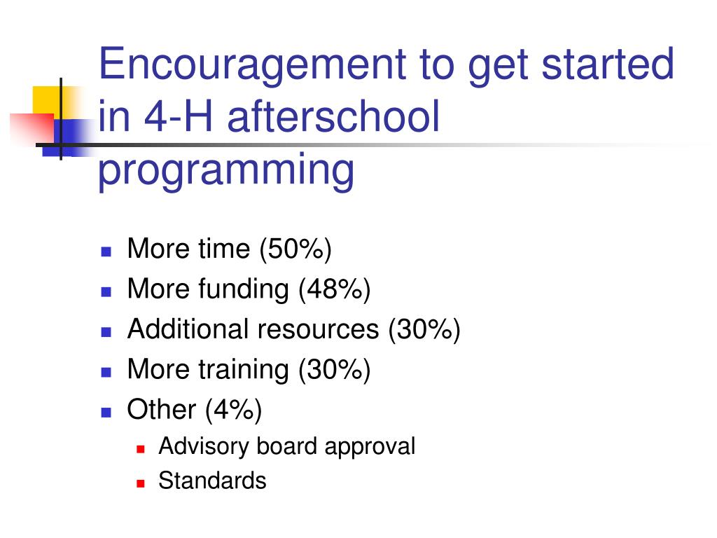 Encouragement to get started in 4-H afterschool programming