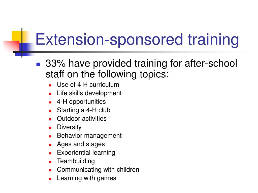 Extension-sponsored training