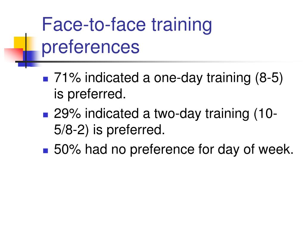 Face-to-face training preferences
