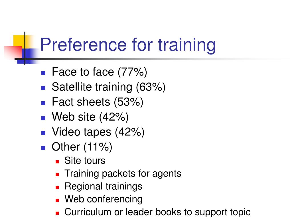 Preference for training
