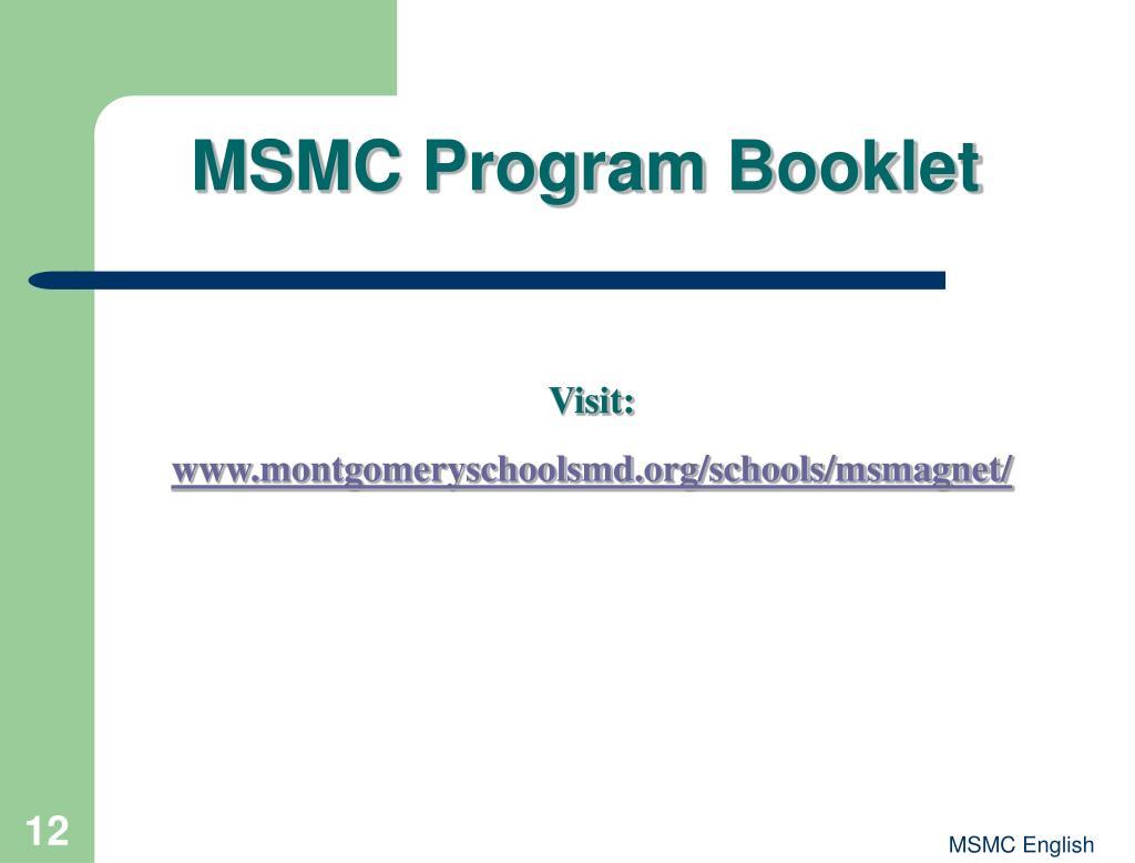 MSMC Program Booklet