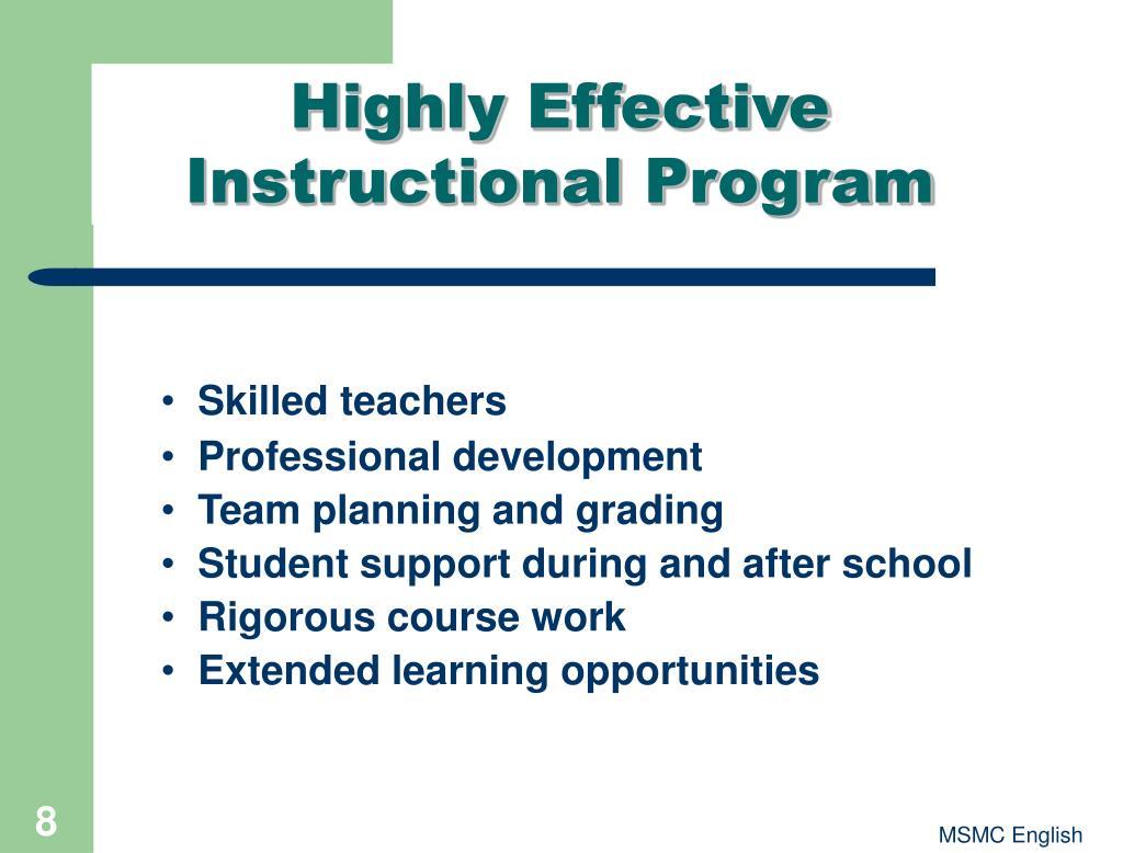 Highly Effective Instructional Program