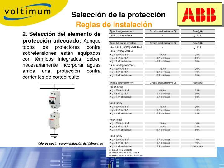 Selección de la protección
