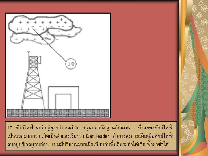10. ศักย์ไฟฟ้าลบที่อยู่สูงกว่า ส่งถ่ายประจุลบมายัง ฐานก้อนเมฆ    ซึ่งแสดงศักย์ไฟฟ้า   เป็นบวกมากกว่า เกิดเป็นลำแสงเรียกว่า Dart leader  ถ้าการส่งถ่ายยังเหลือศักย์ไฟฟ้าลบอยู่บริเวณฐานก้อน  เมฆมีปริมาณมากเมื่อเทียบกับพื้นดินจะทำให้เกิด ฟ้าผ่าซ้ำได้