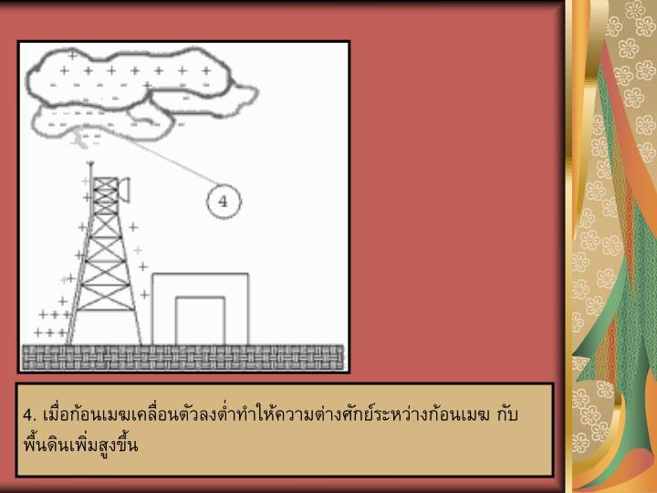 4. เมื่อก้อนเมฆเคลื่อนตัวลงต่ำทำให้ความต่างศักย์ระหว่างก้อนเมฆ กับพื้นดินเพิ่มสูงขึ้น