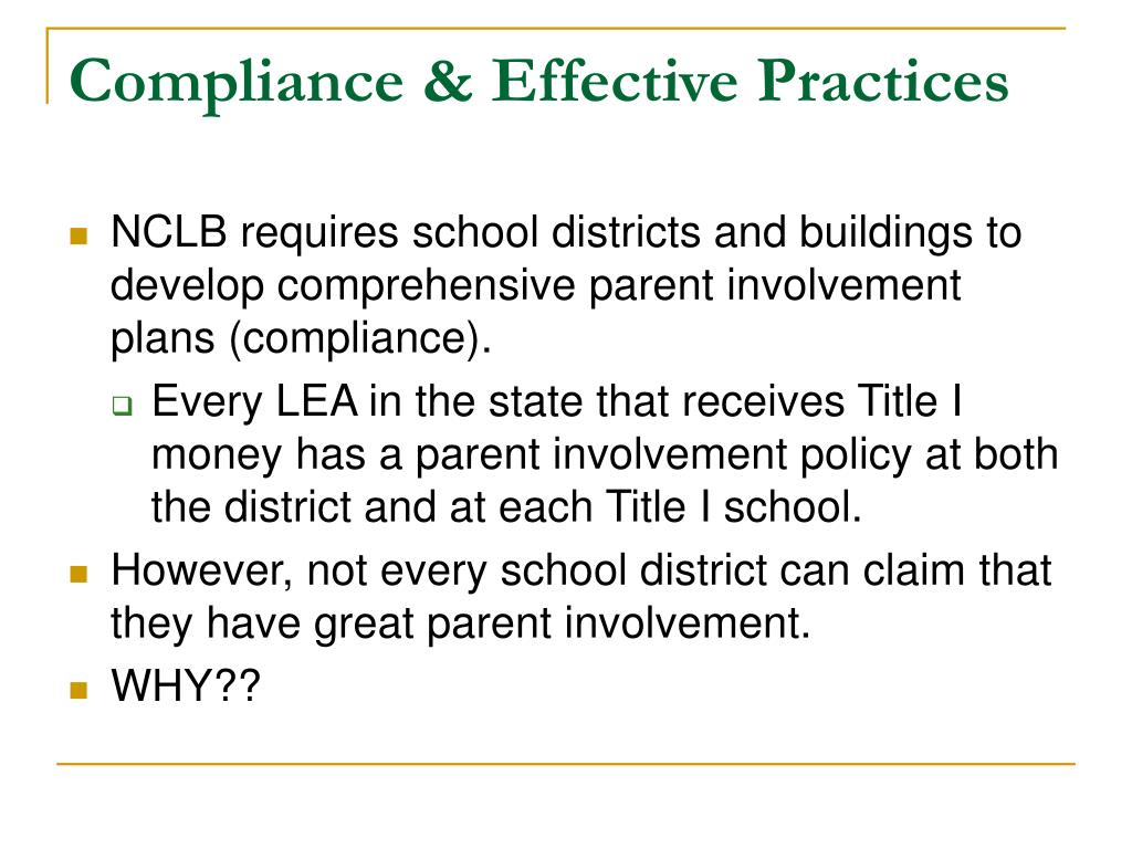 Compliance & Effective Practices