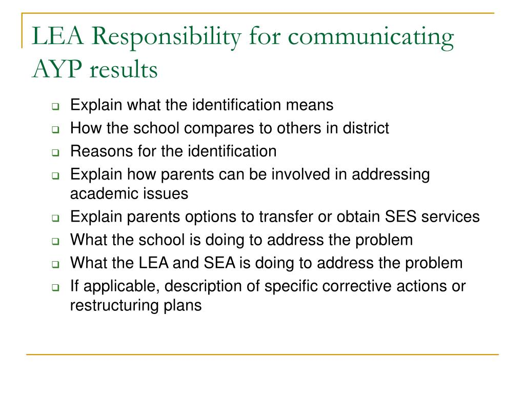 LEA Responsibility for communicating AYP results
