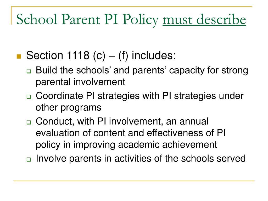 School Parent PI Policy
